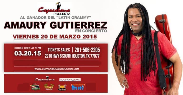 20 de marzo - Amaury Gutiérrez en el Copacabana de Houston, Texas