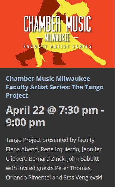 22 de abril - René Izquierdo y + en Peck School of the Arts de Milwaukee, Wisconsin