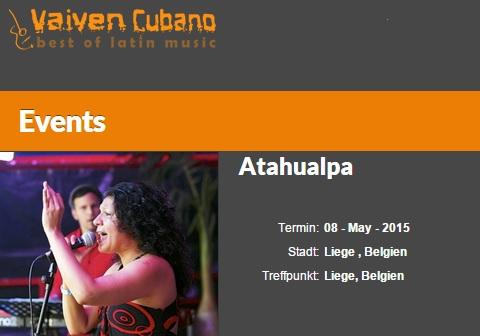 08 de mayo - Bárbara y Vaivén Cubano en Atahualpa de Liege