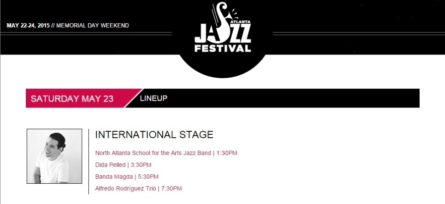 23 de mayo - Alfredo Rodríguez Trío en el Atlanta Jazz Festival, Georgia