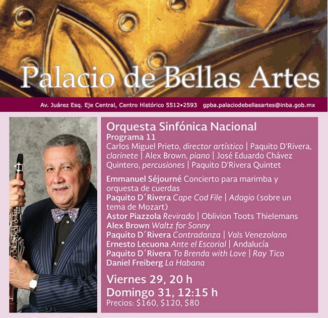 29 y 31 de mayo - Paquito D'Rivera Quintet en el Palacio de Bellas Artes de México